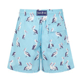 Light Blue Pelicans Men's Designer Swim Shorts Back