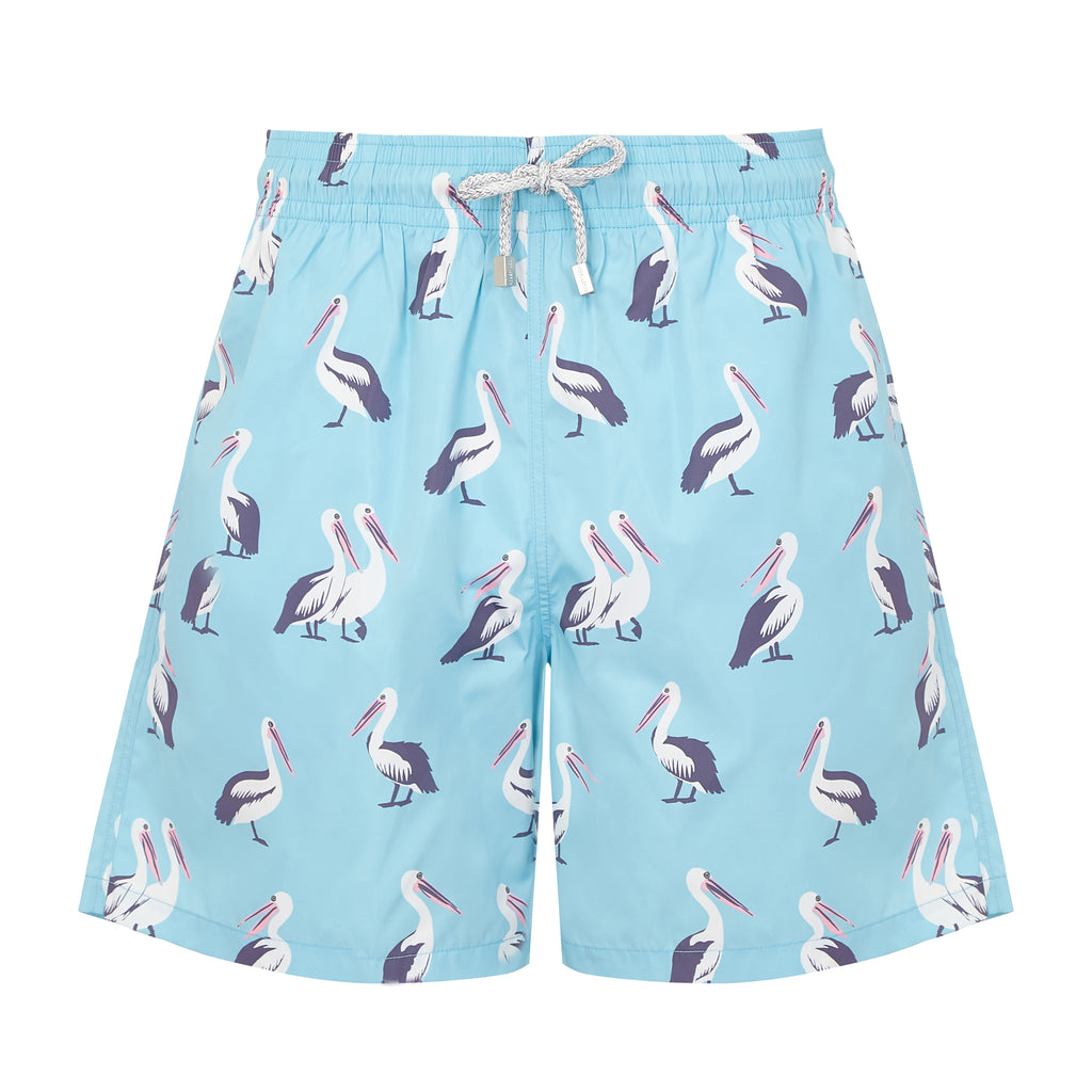 Light Blue Pelicans Men's Designer Swim Shorts Front