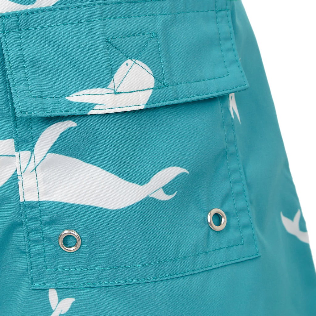 Turquoise Whales - Boys Swim Shorts - RobertandSon