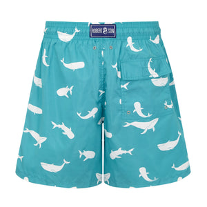 Father and Son Designer Swim Shorts, Turquoise Whales