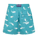 Turquoise Whales Men's Designer Swim Shorts Back
