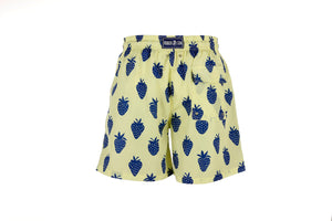 Father and Son Designer Swim Shorts, Yellow Strawberry