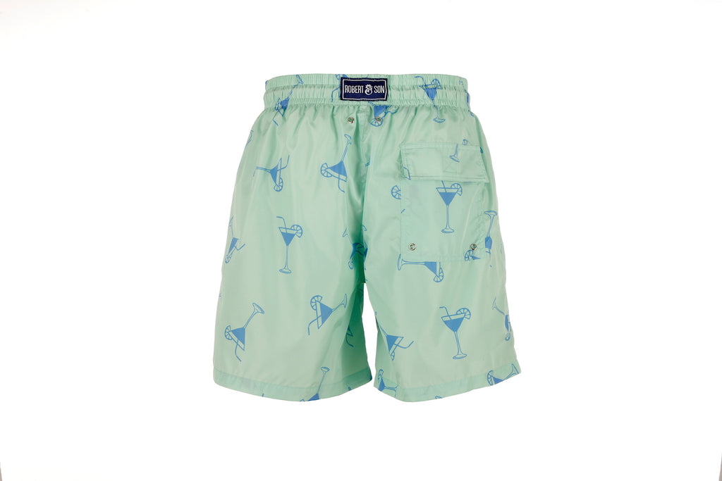 Green Cocktail - Men's Designer Swim Shorts - RobertandSon