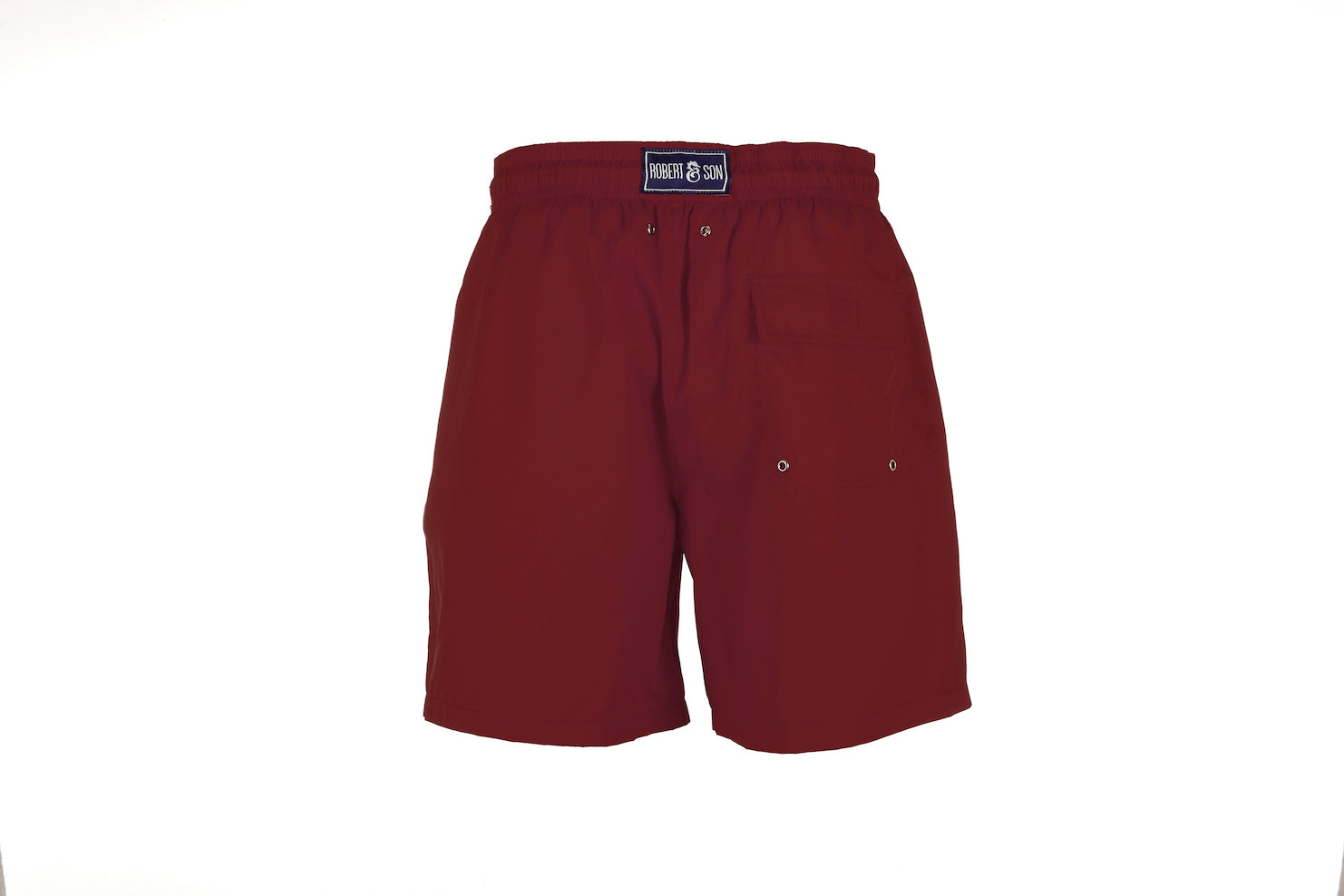 Boys Designer Swim Shorts, Burgundy Plain