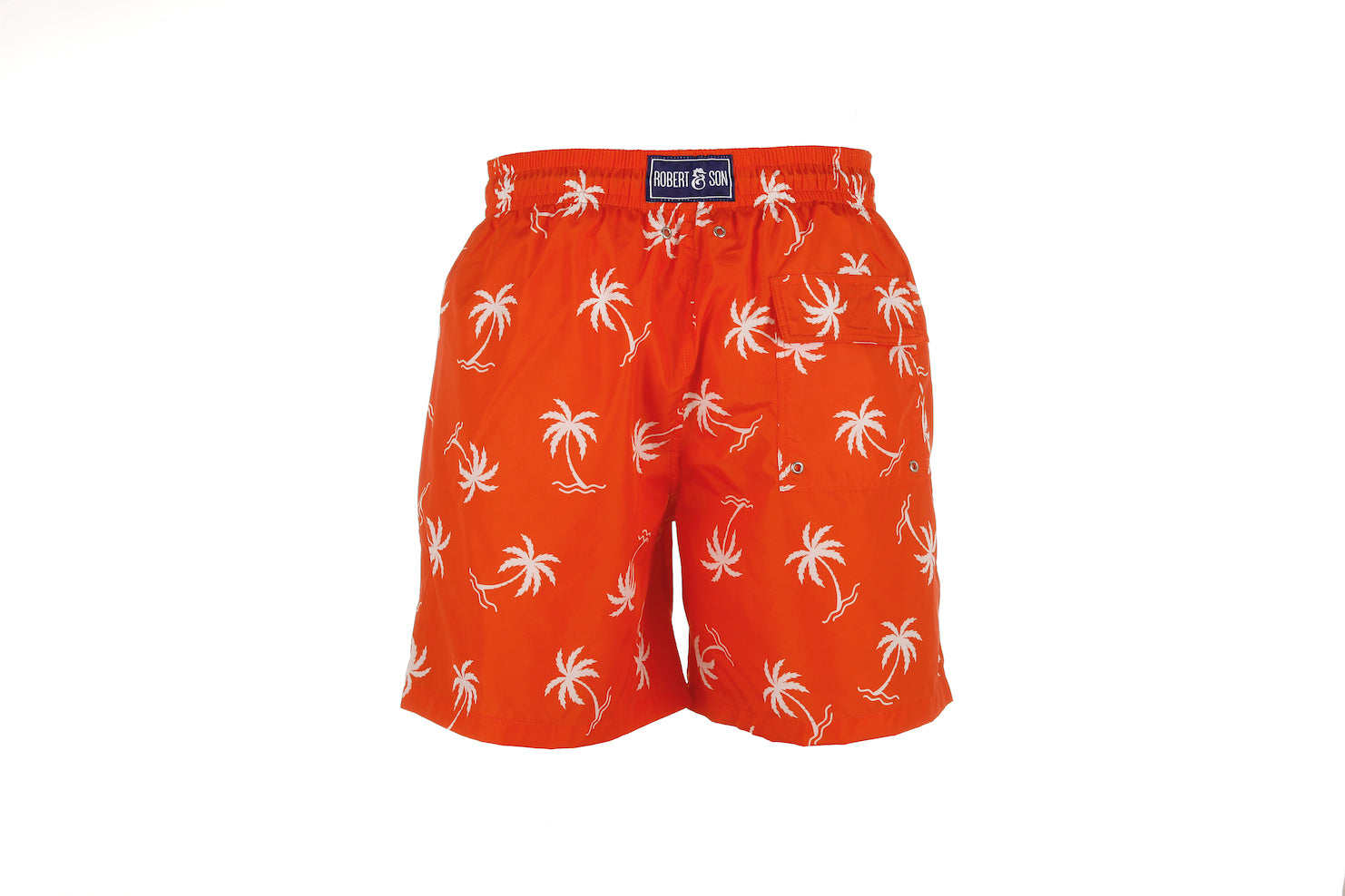 Orange Palm Tree Men's Designer Swim Shorts Back
