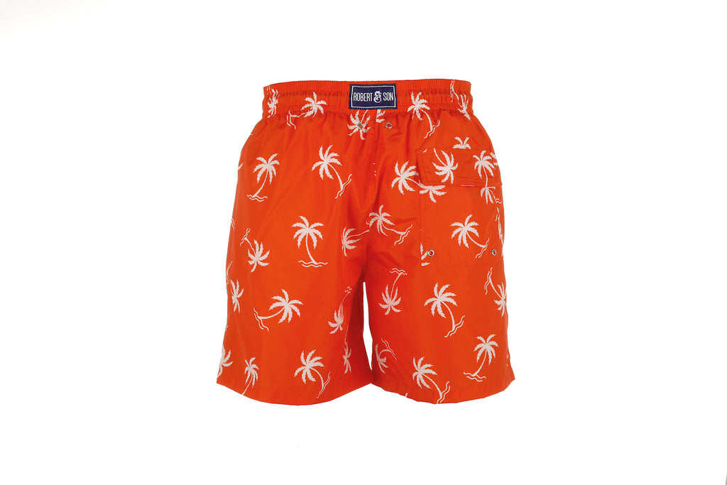 Orange Palm Tree - Men's Designer Swim Shorts - RobertandSon