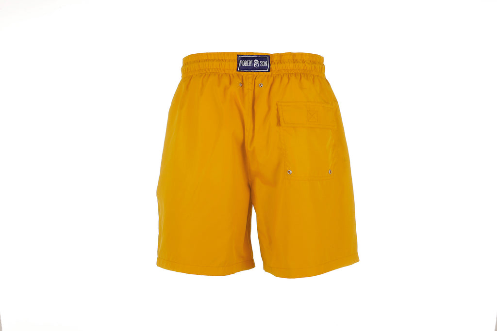 Yellow Plain Boys Swim Shorts Back