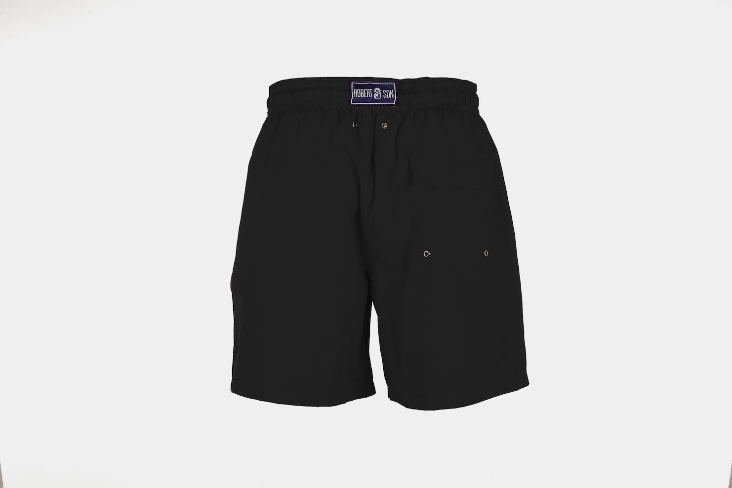 Boys Designer Swim Shorts, Black Plain