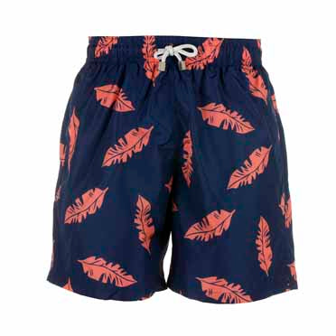 Father and Son Designer Swim Shorts, Blue And Red Leaf
