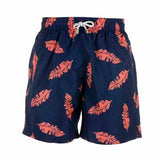 Blue And Red Leaf - Mens Designer Swim Shorts