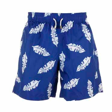 Father and Son Designer Swim Shorts, Blue And White Leaf