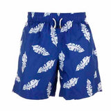 Blue And White Leaf - Mens Designer Swim Shorts