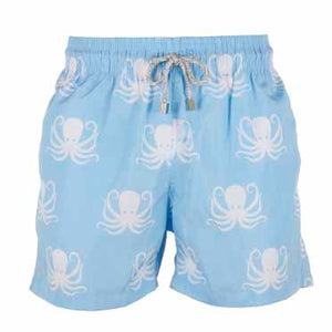 Father and Son Designer Swim Shorts, Blue Octopus