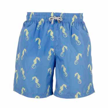 Father and Son Designer Swim Shorts, Blue Seahorse