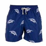 Father and Son Designer Swim Shorts, Blue Turtle