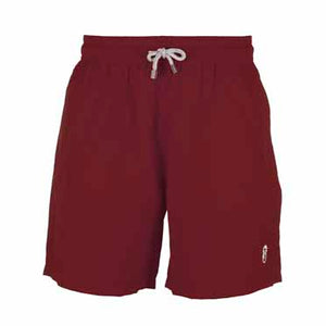 Father and Son Designer Swim Shorts, Burgundy Plain