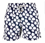 Father and Son Designer Swim Shorts, Blue Giraffe
