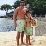Father and Son Designer Swim Shorts, Green Cocktail