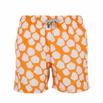 Father and Son Designer Swim Shorts, Orange Giraffe