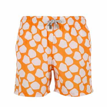 Boys Designer Swim Shorts, Orange Giraffe