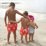 Father and Son Designer Swim Shorts, Orange Octopus