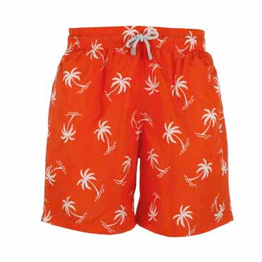 Orange Palm Tree Men's Designer Swim Shorts Front