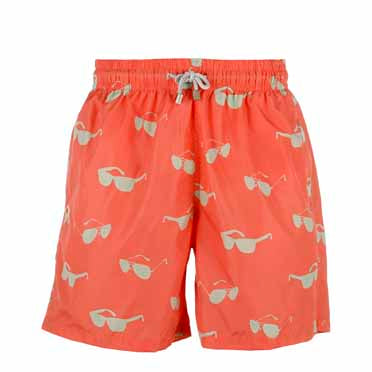Father and Son Designer Swim Shorts, Orange Sunglasses