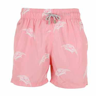Boys Designer Swim Shorts, Pink Turtle