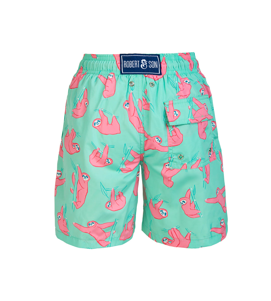 Green Sloths - Boys Swim Shorts