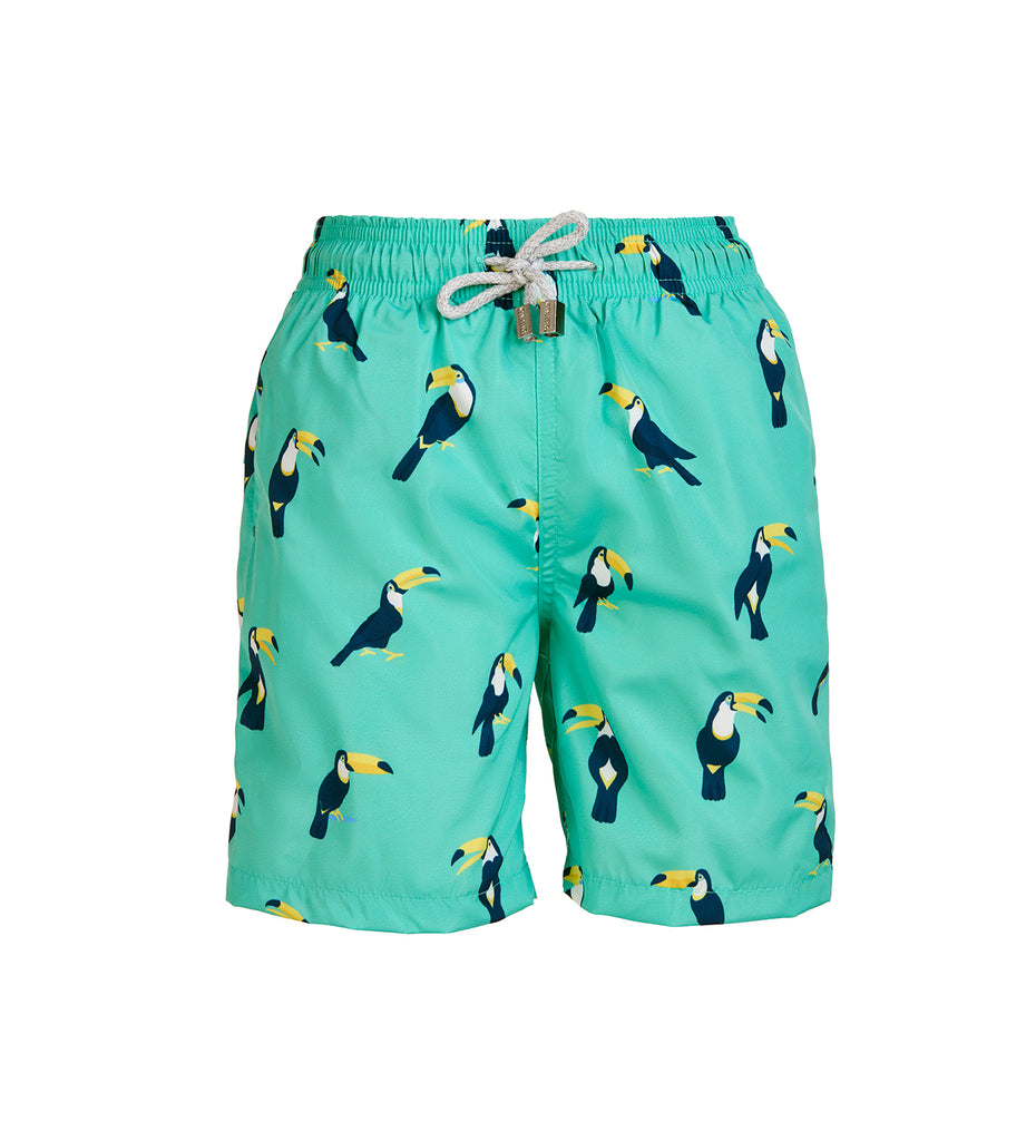 Green Toucan - Boy's Swim Shorts
