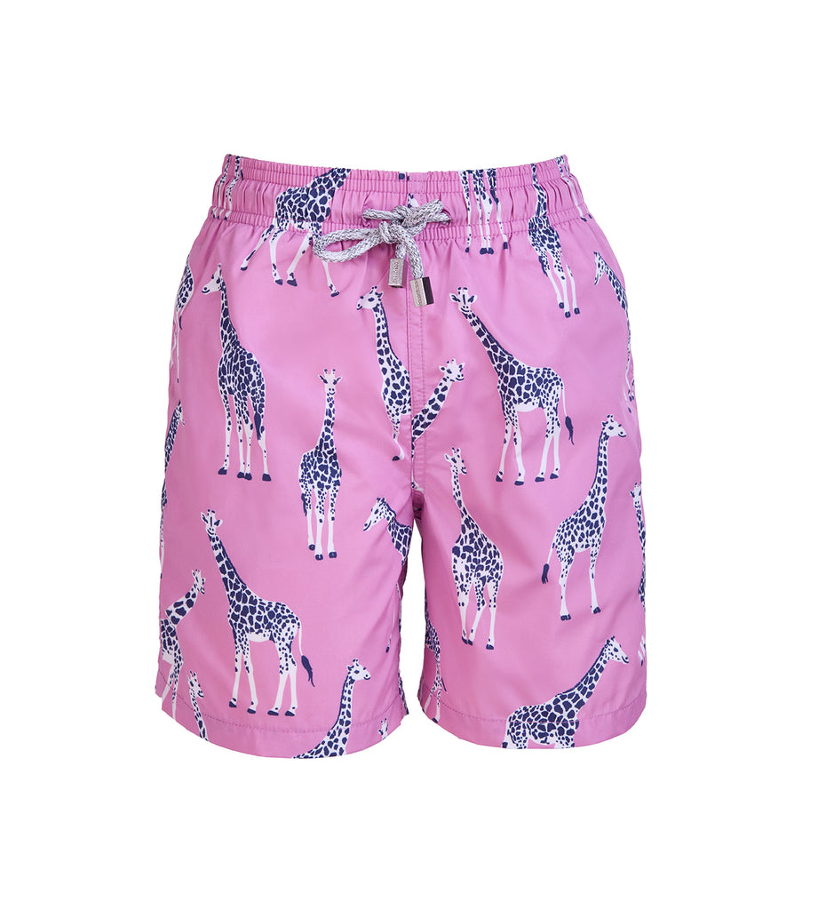 Pink Giraffe - Boy's Swim Shorts
