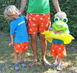 Orange Palm Tree Men's Family Designer Swim Shorts