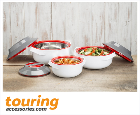 "Zinel ""MICROWOW"" Insulated Microwaveable Food Storage Hot Pot Casserole 3pc Set."