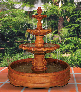 Classical Finial Fountain in Grando Pool, 8 pc.(5768, 6768, 6767S, 7768+AD, 6770S, 7771+AD, 7772, 6289 & CK106, PS450)