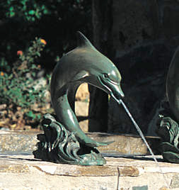 Small Single Dolphin in cast bronze fountain ready