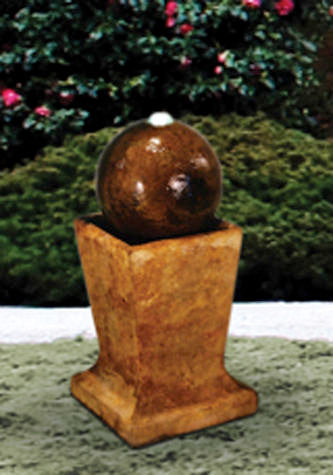 Sphere Bubbler On Low Pedestal Fountain With Plume Light, 3 pc.(4302N, 4302A, 7302, AB870 & CK426, PS4)