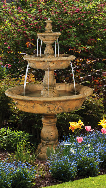 Triple Tazza Tier Fountain, 7 pc.(5562, 6562, 6563P, 6568, 7562, 7567, 7568 & CK163, PS450)Please Note: Fountain Height is 70""