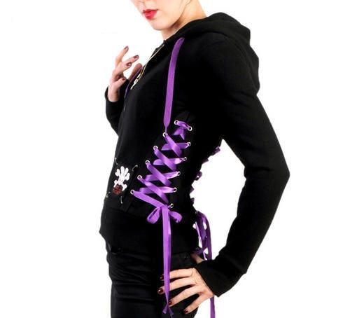 Gothic corset lacing detail purple feature hoodie