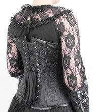 Load image into Gallery viewer, PRE ORDER Floral Brocade Black Steel Boned Gothic Victorian Sweetheart Overbust Corset