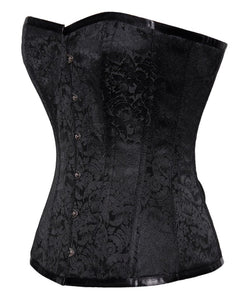 PRE ORDER Floral Brocade Black Steel Boned Gothic Victorian Sweetheart Overbust Corset