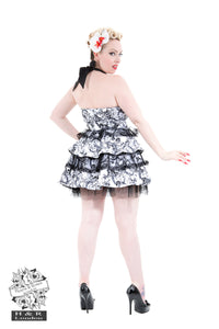 Spooky skull ruffled gothic cute halterneck mini dress