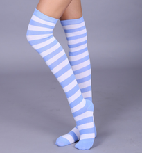 Load image into Gallery viewer, Pastel Wide stripe white & pastel stripes long socks - knee high / over knee socks - pink, blue, lavender, aqua, wisteria