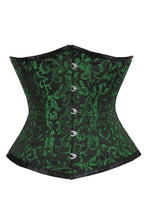 Load image into Gallery viewer, Swirl Brocade Emerald Green & Black Steel Boned Gothic Victorian Underbust Corset