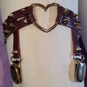 Sock Garter with heart and spiked studs