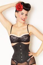 Load image into Gallery viewer, Waspie Black Brocade Steel Boned Gothic Victorian Underbust Corset