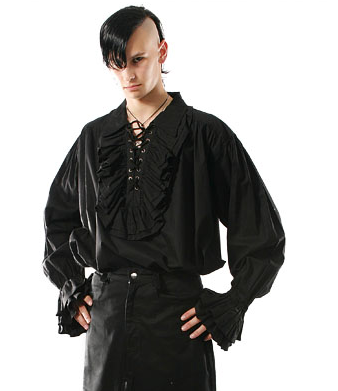 Ruffled collar lace up steampunk vampire pirate shirt - MINOR FAULT