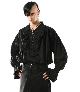 d36cf006 Ruffled collar lace up steampunk vampire pirate shirt - MINOR FAULT –  Quirky Stylin