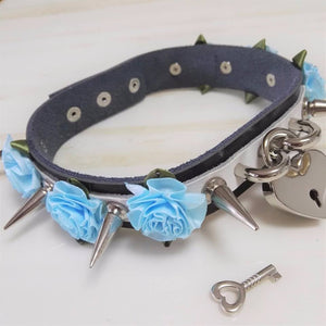Spiked triple flowers and heart padlock gothic punk collar choker