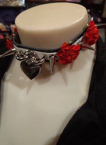 Spiked double flowers and heart padlock gothic punk collar choker