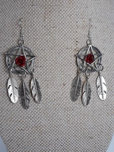 Pentagram, Rose dream catcher Earrings